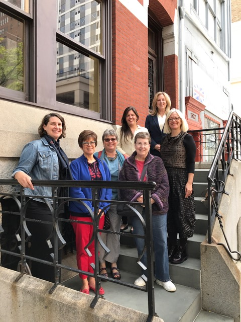 September 2017 CKC Board Meeting/Retreat in Philadelphia, PA. First Row (L-R): Cheryl Klimaszewski (Secretary), Kay Simmons, Karen D. Kendrick Hands (Founder), Marilyn Huset (Treasurer). Second Row: Nicole Scalessa (Vice President), Jennifer Lindsay (President). Third Row: Callie Lasch.