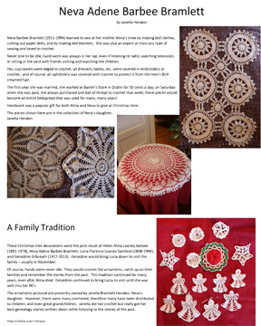 One of the posters about doily heritage, created for the Celebrate Doilies exhibit. This one is about Neva Adene Barbee Bramlett of Erath County, Texas.