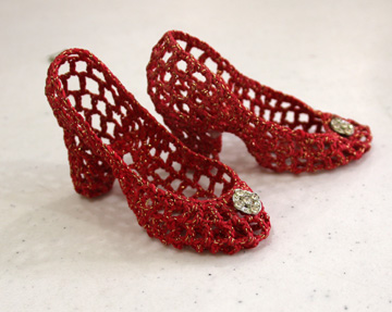 Miniature shoes, crocheted by Bertha Scarborough Kelly.
