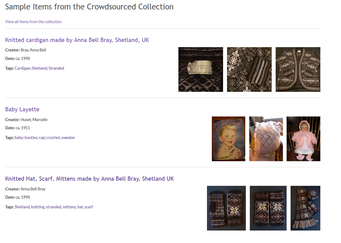 Screen Shot of the crowdsourced collection interface.