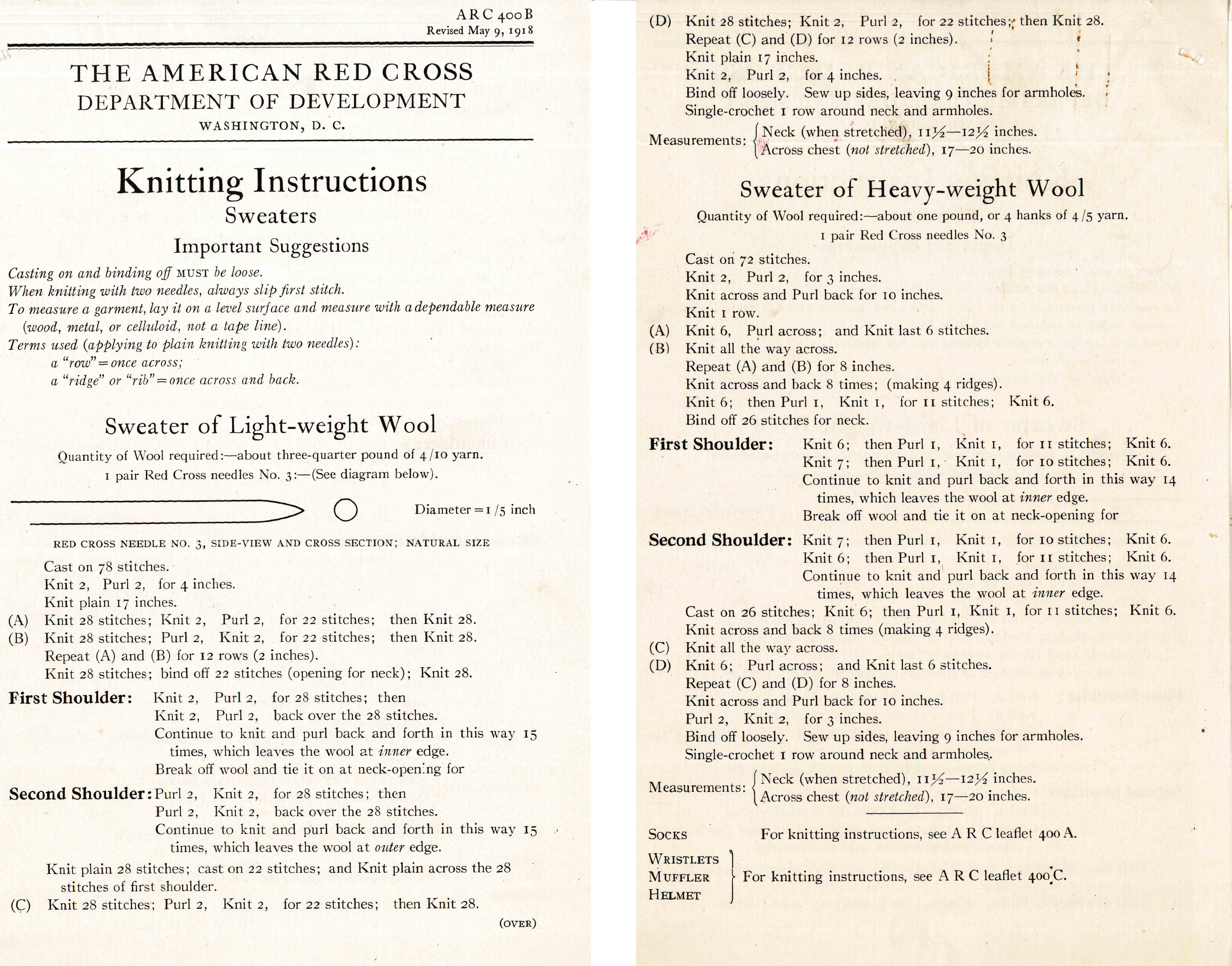 """Knitting Instructions: Sweaters"" ARC 400-B, Sleeveless sweater pattern issued by the American Red Cross in May 1918 as a revision to one issued in 1917."