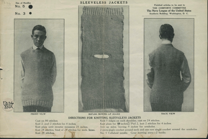 Sleeveless Jacket Pattern. 1917. Wisconsin Historical Society Pamphlet Collection.