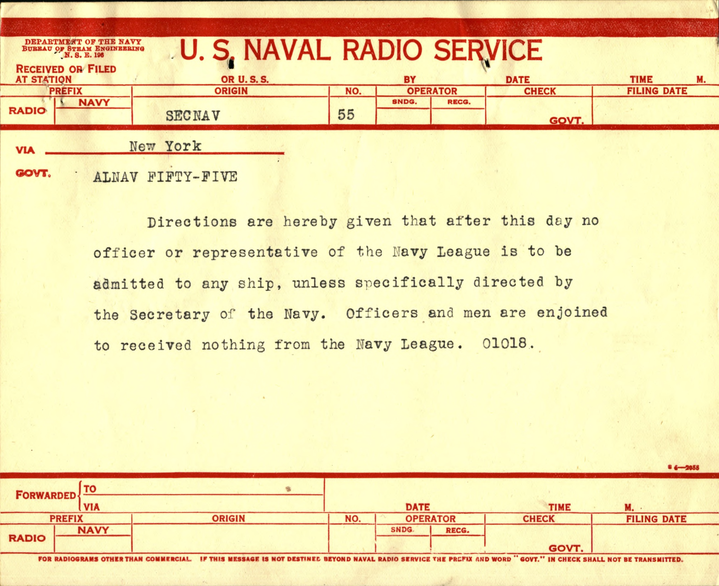 AlNav 55, announcing that Navy League personnel were no longer allowed on Naval bases or ships